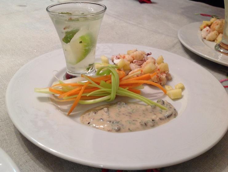 insalata tiepida di mare con granita di mojito